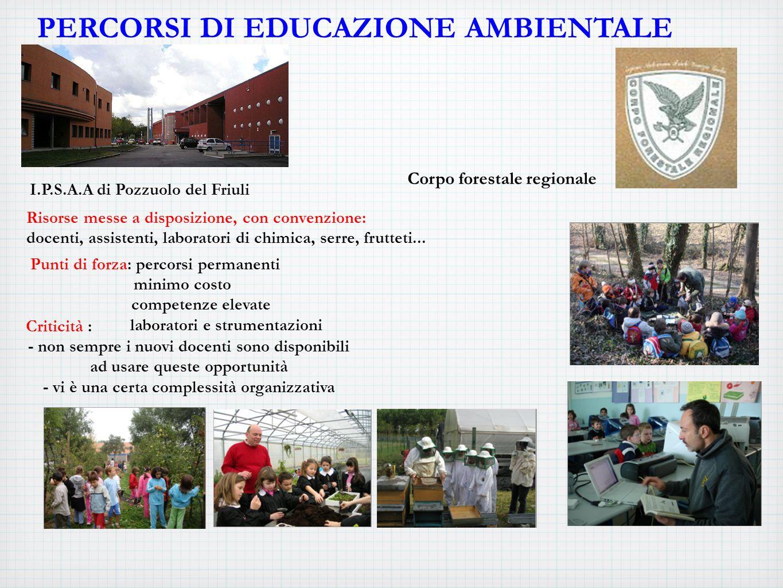 PERCORSI DI EDUCAZIONE AMBIENTALE I.P.S.A.A di Pozzuolo del Friuli Risorse messe a disposizione, con convenzione: docenti, assistenti, laboratori di chimica, serre, frutteti...
