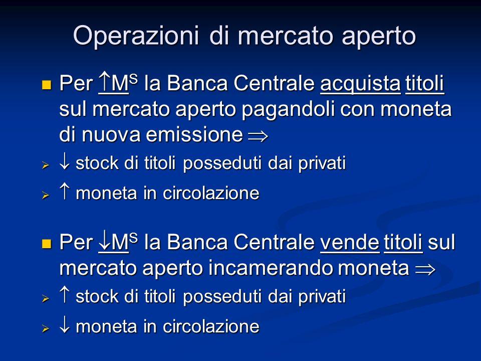 Per M S la Banca Centrale acquista titoli sul mercato aperto pagandoli con moneta di nuova emissione Per M S la Banca Centrale acquista titoli sul mer