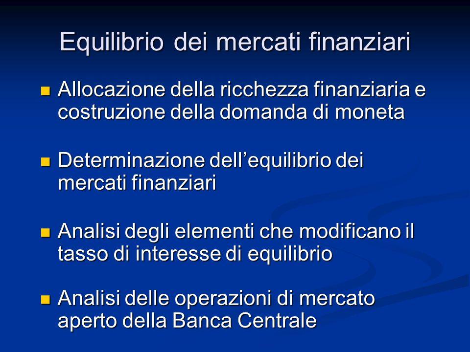 Allocazione della ricchezza finanziaria e costruzione della domanda di moneta Allocazione della ricchezza finanziaria e costruzione della domanda di m
