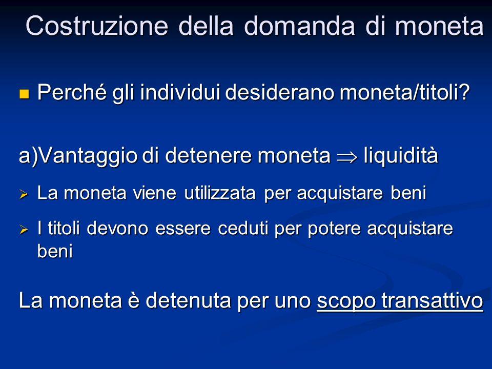 Perché gli individui desiderano moneta/titoli? Perché gli individui desiderano moneta/titoli? a)Vantaggio di detenere moneta liquidità La moneta viene