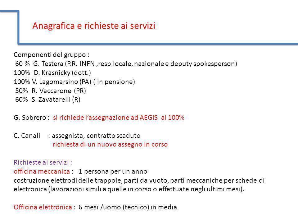 Anagrafica e richieste ai servizi Componenti del gruppo : 60 % G. Testera (P.R. INFN,resp locale, nazionale e deputy spokesperson) 100% D. Krasnicky (
