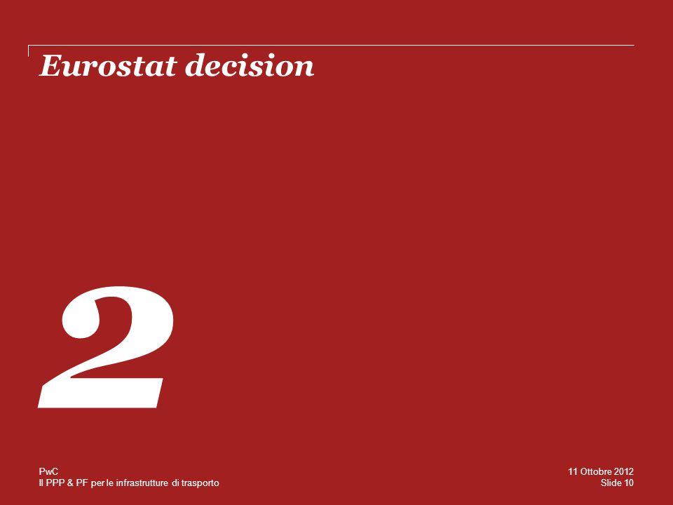 Il PPP & PF per le infrastrutture di trasporto Eurostat decision 2 Slide 10 11 Ottobre 2012 PwC