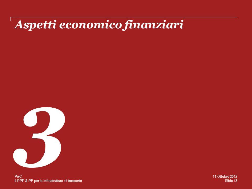 Il PPP & PF per le infrastrutture di trasporto Aspetti economico finanziari 3 Slide 13 11 Ottobre 2012 PwC