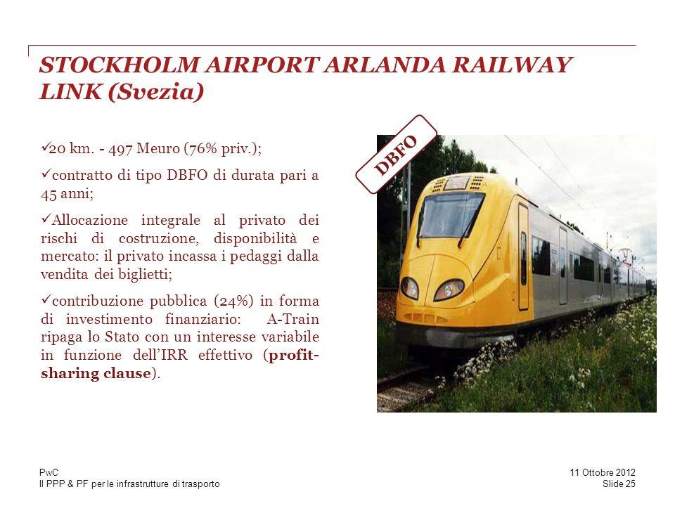 Il PPP & PF per le infrastrutture di trasporto STOCKHOLM AIRPORT ARLANDA RAILWAY LINK (Svezia) 20 km. - 497 Meuro (76% priv.); contratto di tipo DBFO
