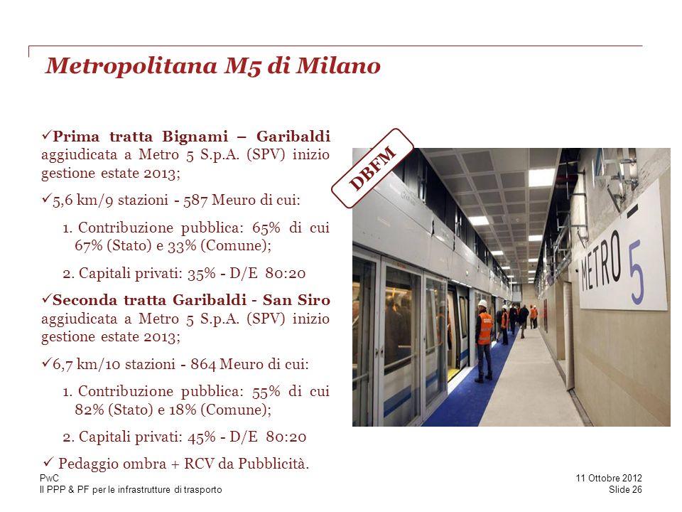 Il PPP & PF per le infrastrutture di trasporto Metropolitana M5 di Milano Slide 26 11 Ottobre 2012 PwC Prima tratta Bignami – Garibaldi aggiudicata a Metro 5 S.p.A.