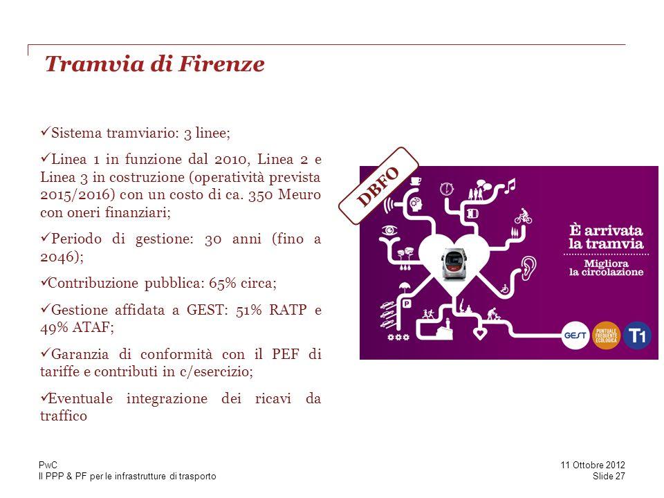 Il PPP & PF per le infrastrutture di trasporto Tramvia di Firenze Slide 27 11 Ottobre 2012 PwC Sistema tramviario: 3 linee; Linea 1 in funzione dal 20