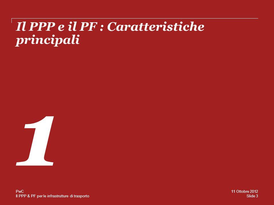 Il PPP & PF per le infrastrutture di trasporto Capacità di attrarre capitali privati + Ricavi di gestione - Costi Operativi Rimborso rata di Finanziamento Movimentazione Riserve Shareholder cash flow Rimborso Debito Subordinato Dividendi CAPITALI PRIVATI Market side (tariffa) Public side (canone) BANK DEBT PRESTITO SUBORDINATO CAPITALE PROPRIO Slide 14 11 Ottobre 2012 PwC