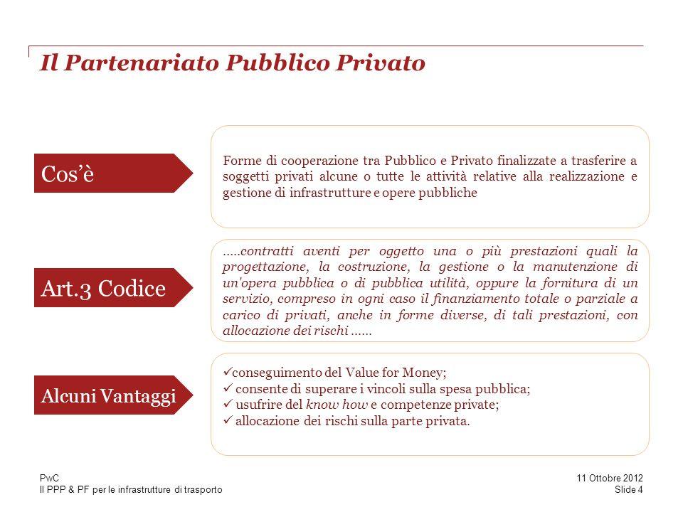 Il PPP & PF per le infrastrutture di trasporto I modelli di PPP Slide 5 11 Ottobre 2012 PwC 1.