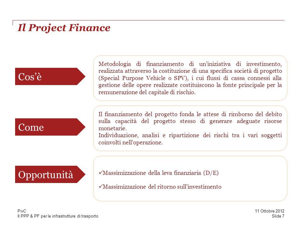 Il PPP & PF per le infrastrutture di trasporto Il Project Finance Cosè Come Metodologia di finanziamento di uniniziativa di investimento, realizzata attraverso la costituzione di una specifica società di progetto (Special Purpose Vehicle o SPV), i cui flussi di cassa connessi alla gestione delle opere realizzate costituiscono la fonte principale per la remunerazione del capitale di rischio.