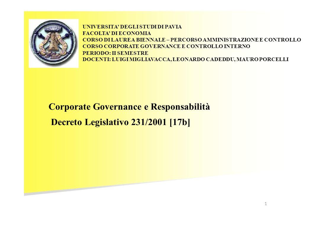 CORPORATE GOVERNANCE E RESPONSABILITA La costruzione e laggiornamento dei Modelli 231 I PASSI OPERATIVI PER LA REALIZZAZIONE DEL SISTEMA DI CONTROLLO PREVENTIVO C.