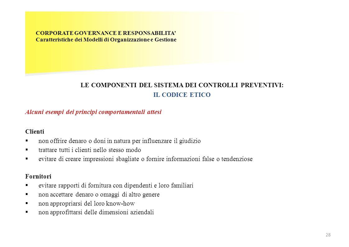 CORPORATE GOVERNANCE E RESPONSABILITA Caratteristiche dei Modelli di Organizzazione e Gestione LE COMPONENTI DEL SISTEMA DEI CONTROLLI PREVENTIVI: IL