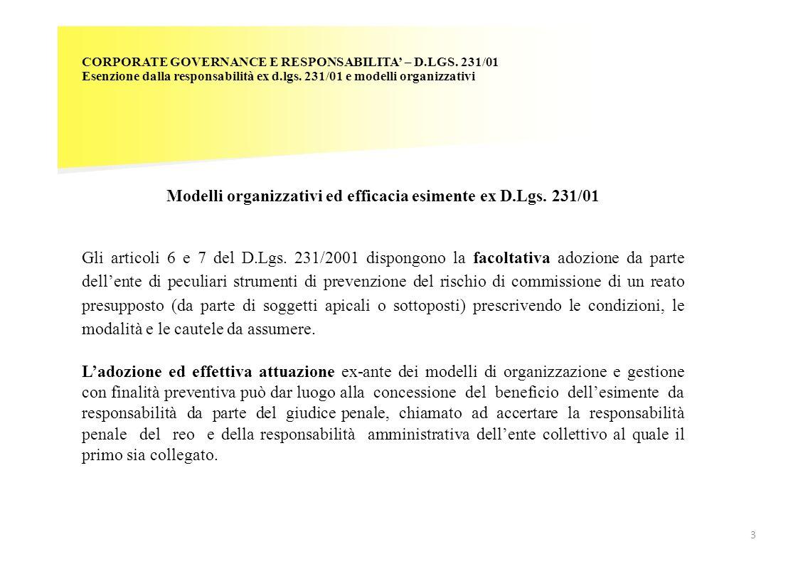 CORPORATE GOVERNANCE E RESPONSABILITA – D.LGS. 231/01 Esenzione dalla responsabilità ex d.lgs. 231/01 e modelli organizzativi Modelli organizzativi ed