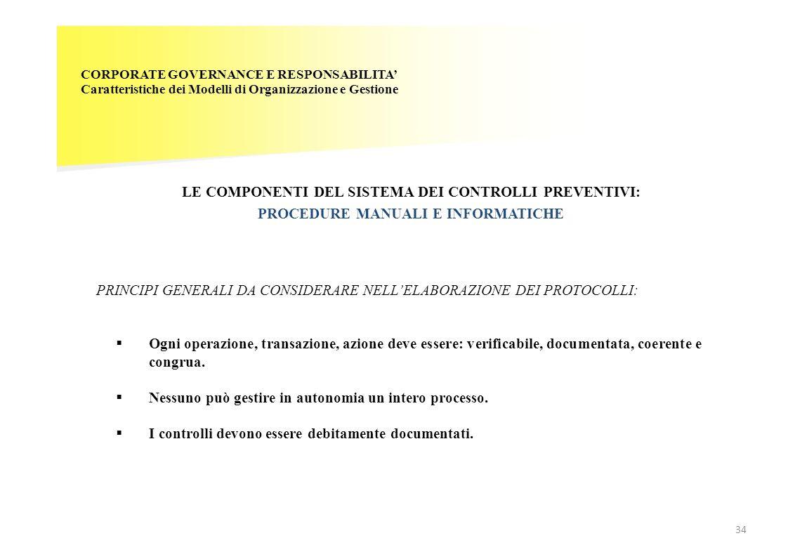 CORPORATE GOVERNANCE E RESPONSABILITA Caratteristiche dei Modelli di Organizzazione e Gestione LE COMPONENTI DEL SISTEMA DEI CONTROLLI PREVENTIVI: PRO