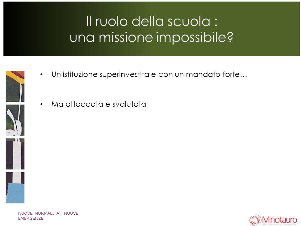 NUOVE NORMALITA, NUOVE EMERGENZE Il ruolo della scuola : una missione impossibile.
