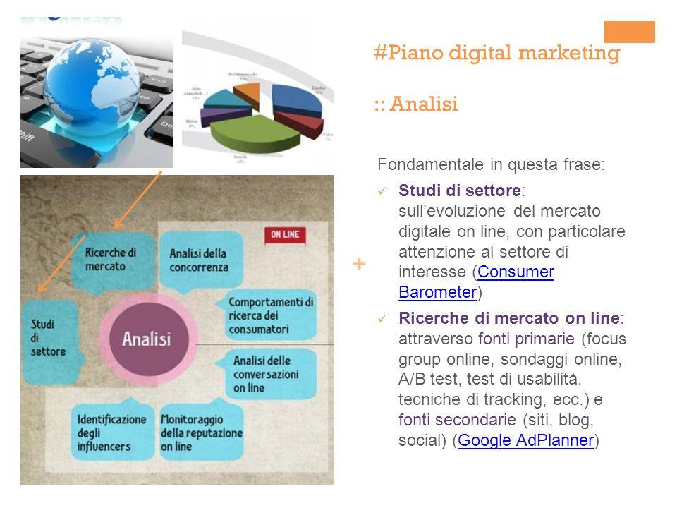 + #Piano digital marketing :: Analisi Fondamentale in questa frase: Studi di settore: sullevoluzione del mercato digitale on line, con particolare att