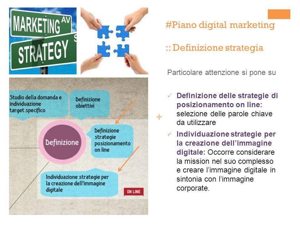 + Particolare attenzione si pone su Definizione delle strategie di posizionamento on line: selezione delle parole chiave da utilizzare Individuazione strategie per la creazione dellimmagine digitale: Occorre considerare la mission nel suo complesso e creare limmagine digitale in sintonia con limmagine corporate.
