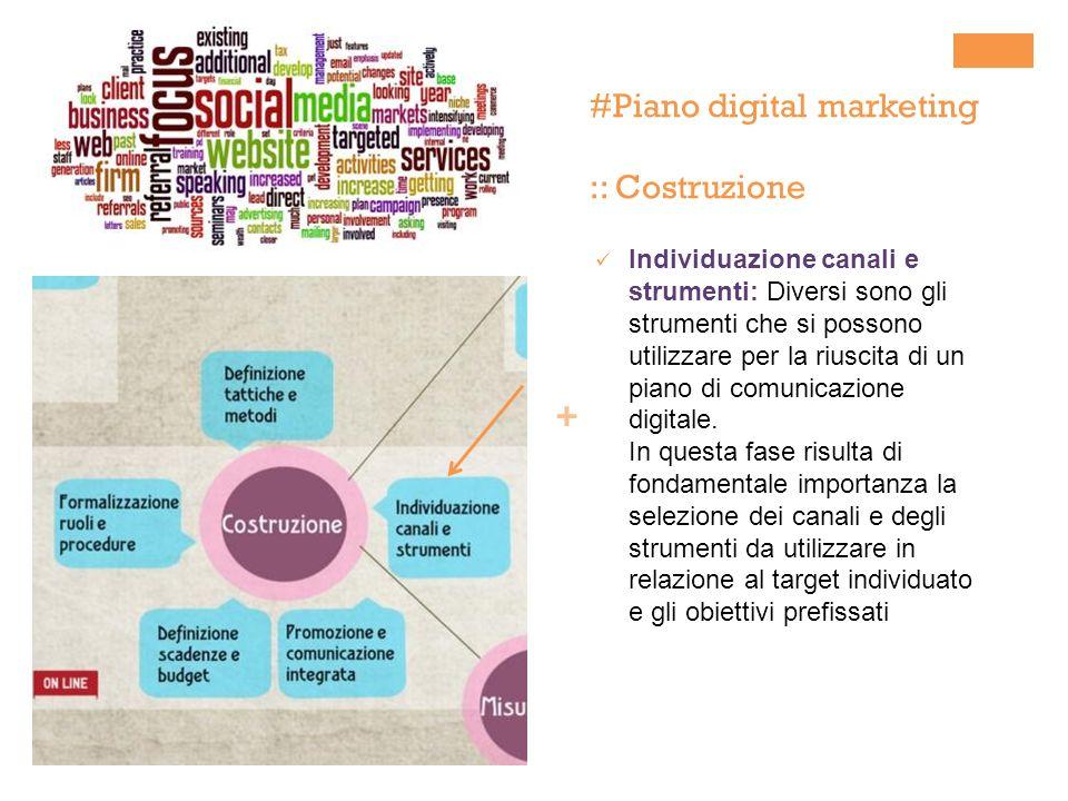 + #Piano digital marketing :: Costruzione Individuazione canali e strumenti: Diversi sono gli strumenti che si possono utilizzare per la riuscita di un piano di comunicazione digitale.