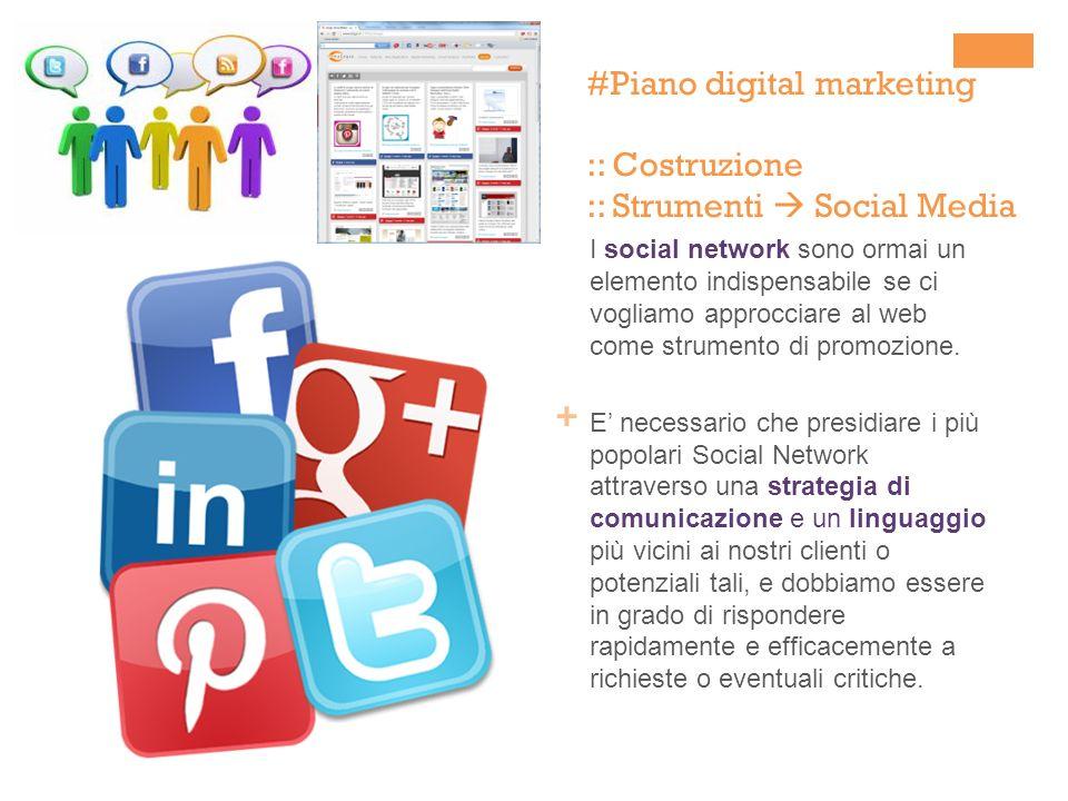 + I social network sono ormai un elemento indispensabile se ci vogliamo approcciare al web come strumento di promozione. E necessario che presidiare i