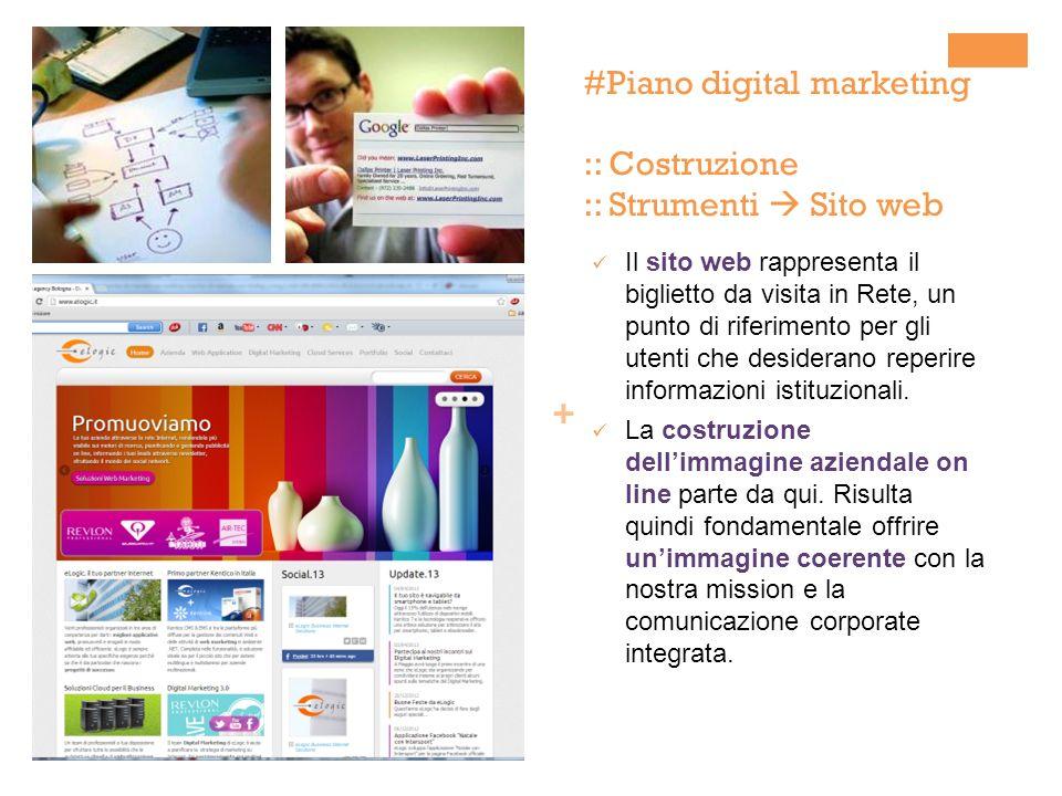 + #Piano digital marketing :: Costruzione :: Strumenti Sito web Il sito web rappresenta il biglietto da visita in Rete, un punto di riferimento per gli utenti che desiderano reperire informazioni istituzionali.