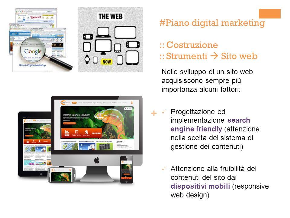 + #Piano digital marketing :: Costruzione :: Strumenti Sito web Nello sviluppo di un sito web acquisiscono sempre più importanza alcuni fattori: Proge