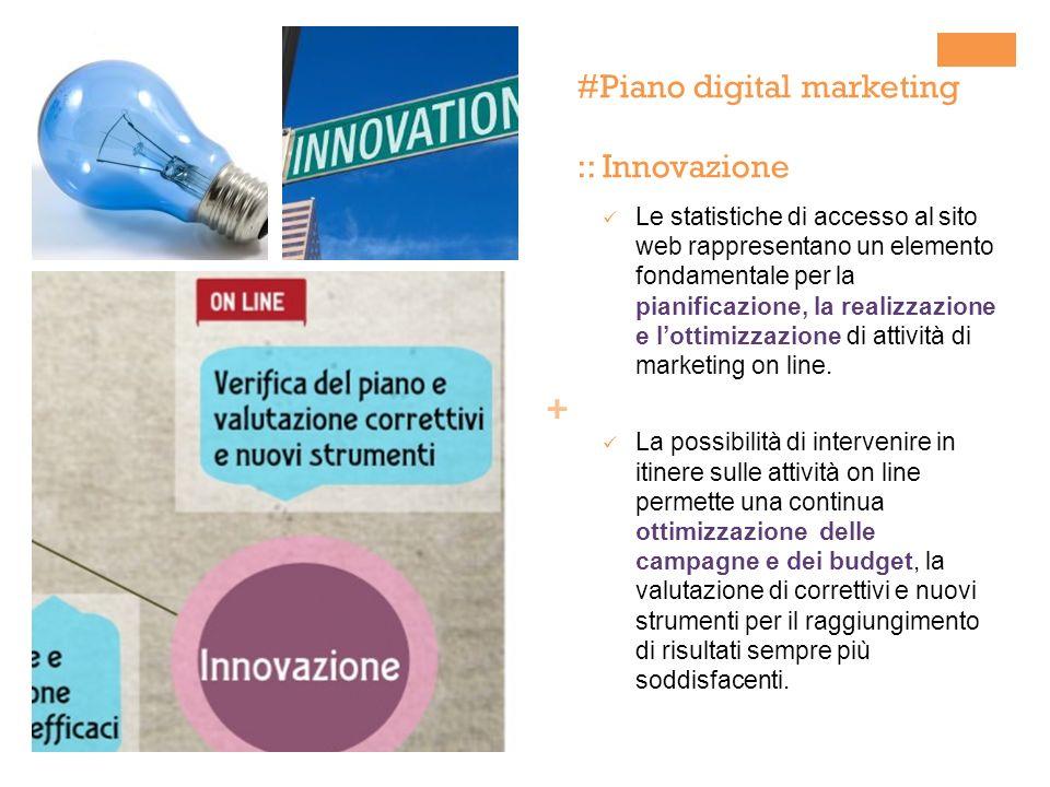 + #Piano digital marketing :: Innovazione Le statistiche di accesso al sito web rappresentano un elemento fondamentale per la pianificazione, la realizzazione e lottimizzazione di attività di marketing on line.