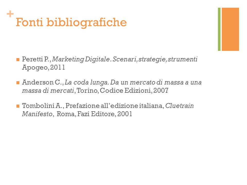 + Fonti bibliografiche Peretti P., Marketing Digitale. Scenari, strategie, strumenti Apogeo, 2011 Anderson C., La coda lunga. Da un mercato di massa a