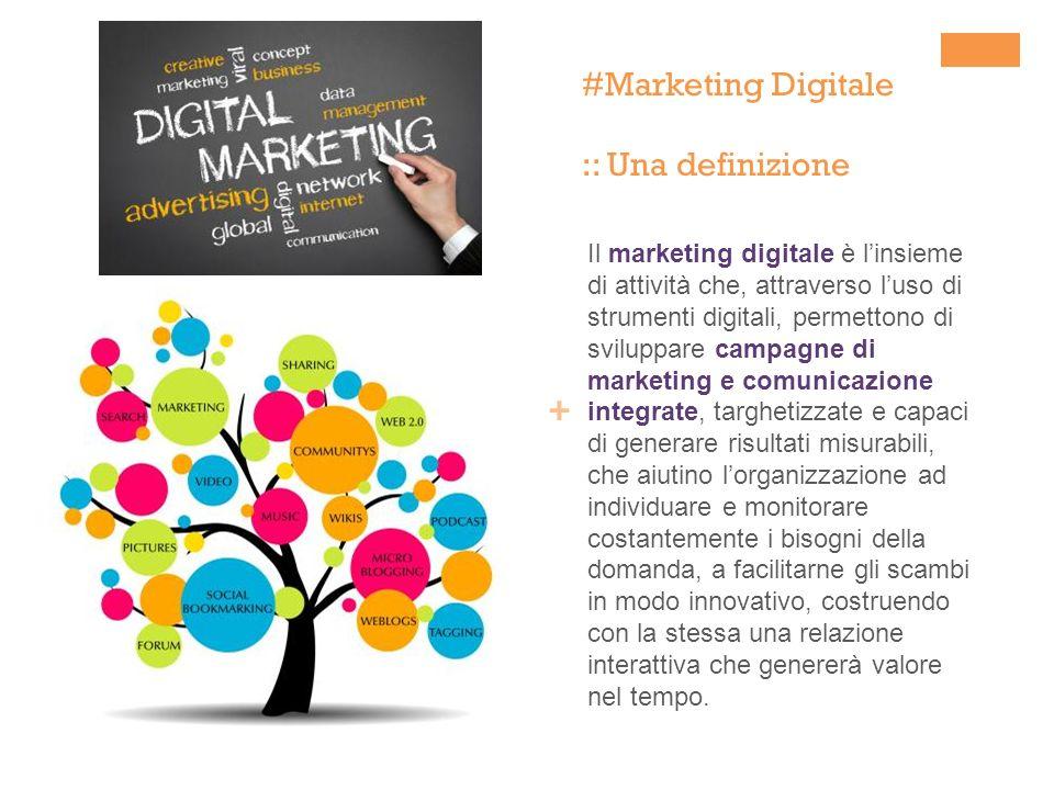 + #Marketing Digitale :: Una definizione Il marketing digitale è linsieme di attività che, attraverso luso di strumenti digitali, permettono di svilup