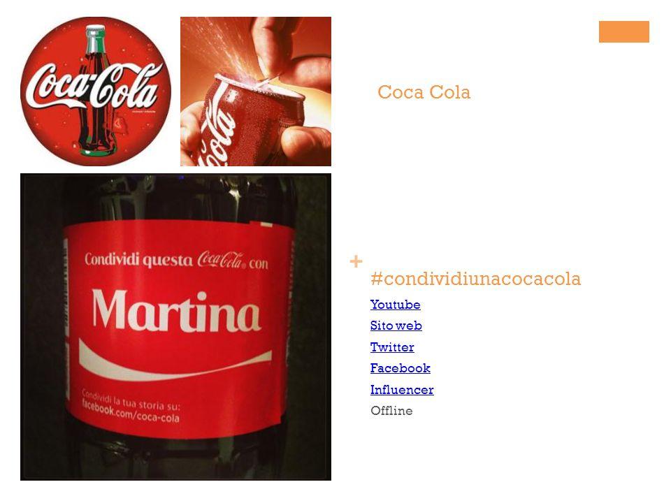 + #condividiunacocacola Youtube Sito web Twitter Facebook Influencer Offline Coca Cola