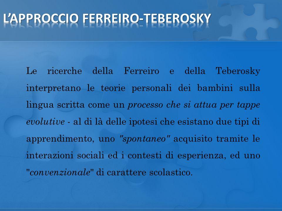 Le ricerche della Ferreiro e della Teberosky interpretano le teorie personali dei bambini sulla lingua scritta come un processo che si attua per tappe evolutive - al di là delle ipotesi che esistano due tipi di apprendimento, uno spontaneo acquisito tramite le interazioni sociali ed i contesti di esperienza, ed uno convenzionale di carattere scolastico.