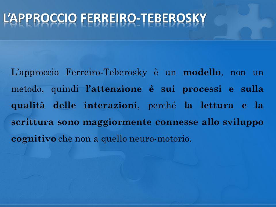 Lapproccio Ferreiro-Teberosky è un modello, non un metodo, quindi lattenzione è sui processi e sulla qualità delle interazioni, perché la lettura e la scrittura sono maggiormente connesse allo sviluppo cognitivo che non a quello neuro-motorio.