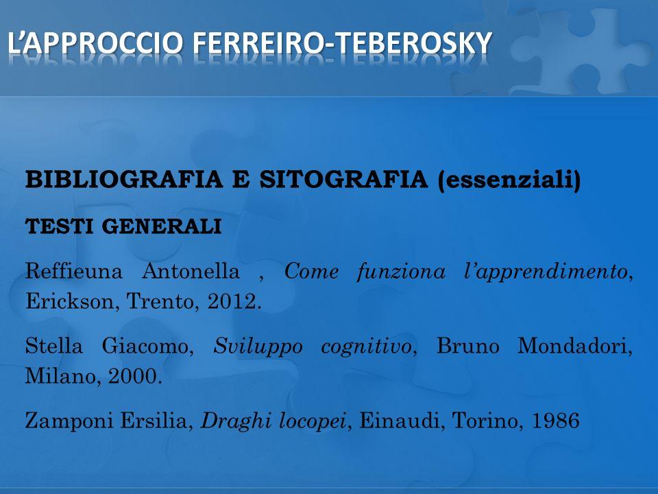 BIBLIOGRAFIA E SITOGRAFIA (essenziali) TESTI GENERALI Reffieuna Antonella, Come funziona lapprendimento, Erickson, Trento, 2012.