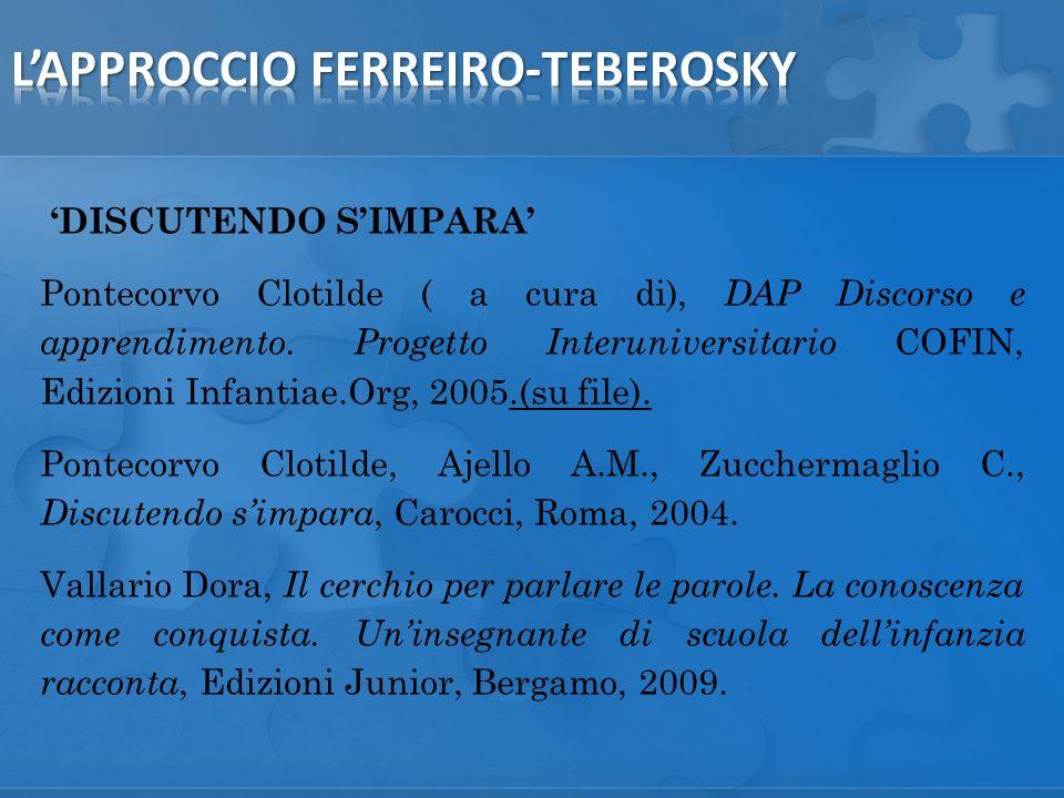 DISCUTENDO SIMPARA Pontecorvo Clotilde ( a cura di), DAP Discorso e apprendimento.