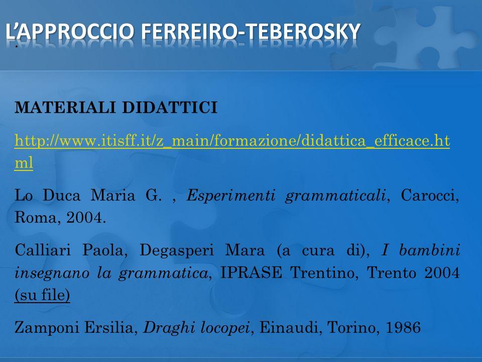 MATERIALI DIDATTICI http://www.itisff.it/z_main/formazione/didattica_efficace.ht ml Lo Duca Maria G., Esperimenti grammaticali, Carocci, Roma, 2004.