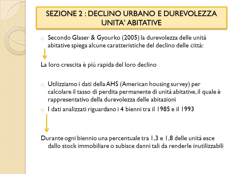 SEZIONE 2 : DECLINO URBANO E DUREVOLEZZA UNITA ABITATIVE o Secondo Glaser & Gyourko (2005) la durevolezza delle unità abitative spiega alcune caratteristiche del declino delle città: La loro crescita è più rapida del loro declino o Utilizziamo i dati della AHS (American housing survey) per calcolare il tasso di perdita permanente di unità abitative, il quale è rappresentativo della durevolezza delle abitazioni o I dati analizzati riguardano i 4 bienni tra il 1985 e il 1993 Durante ogni biennio una percentuale tra 1,3 e 1,8 delle unità esce dallo stock immobiliare o subisce danni tali da renderle inutilizzabili