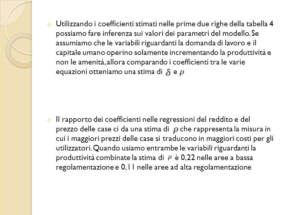 o Utilizzando i coefficienti stimati nelle prime due righe della tabella 4 possiamo fare inferenza sui valori dei parametri del modello.