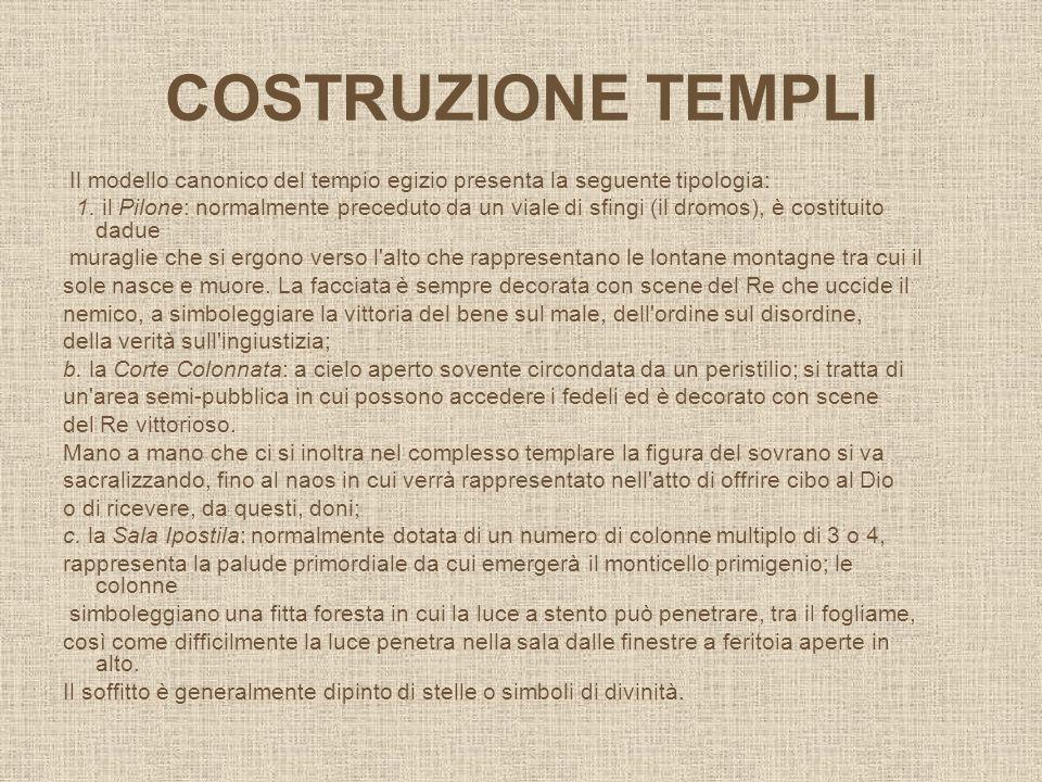 COSTRUZIONE TEMPLI Il modello canonico del tempio egizio presenta la seguente tipologia: 1. il Pilone: normalmente preceduto da un viale di sfingi (il
