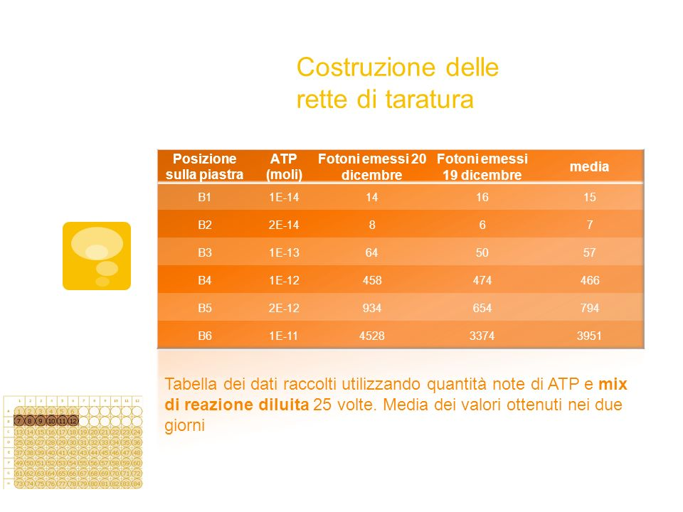 Costruzione delle rette di taratura Tabella dei dati raccolti utilizzando quantità note di ATP e mix di reazione diluita 25 volte. Media dei valori ot