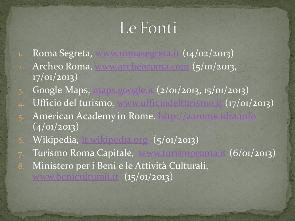 1. Roma Segreta, www.romasegreta.it (14/02/2013)www.romasegreta.it 2. Archeo Roma, www.archeoroma.com (5/01/2013, 17/01/2013)www.archeoroma.com 3. Goo