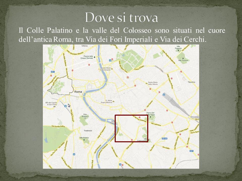 A A – Colosseo B B – Arco di Costantino C C – Domus Flavia D D – Domus Augustana E E – Stadio Palatino