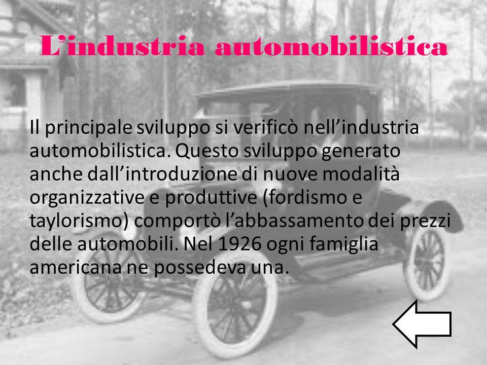 Lindustria automobilistica Il principale sviluppo si verificò nellindustria automobilistica. Questo sviluppo generato anche dallintroduzione di nuove