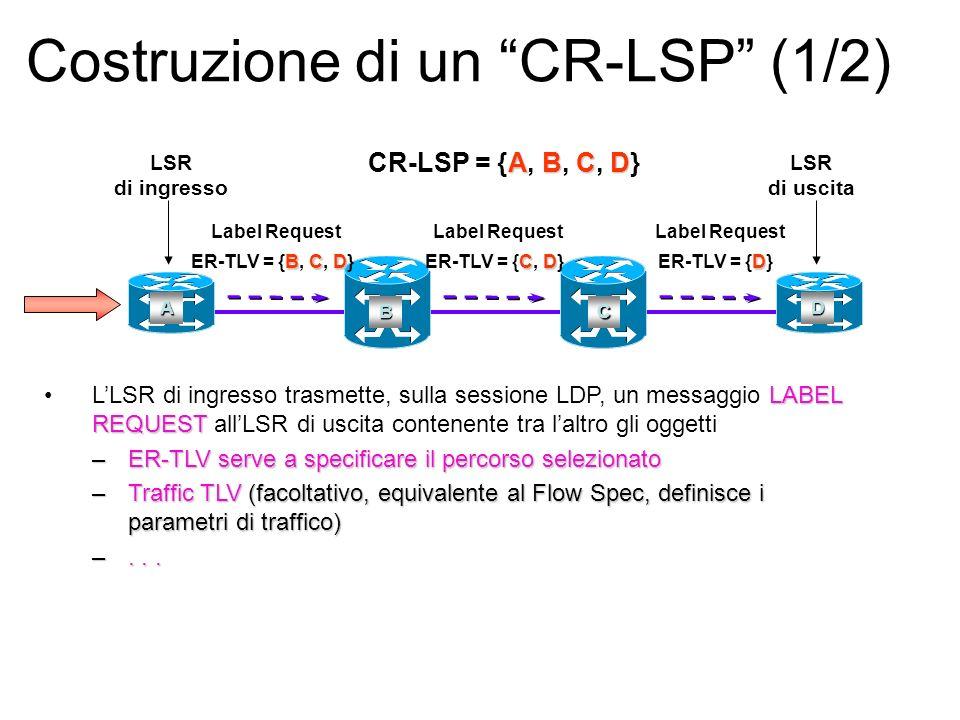 Costruzione di un CR-LSP (1/2) LABEL REQUESTLLSR di ingresso trasmette, sulla sessione LDP, un messaggio LABEL REQUEST allLSR di uscita contenente tra laltro gli oggetti –ER-TLV serve a specificare il percorso selezionato –Traffic TLV (facoltativo, equivalente al Flow Spec, definisce i parametri di traffico) –...