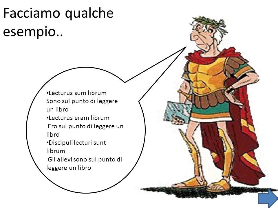 Facciamo qualche esempio.. Lecturus sum librum Sono sul punto di leggere un libro Lecturus eram librum Ero sul punto di leggere un libro Discipuli lec
