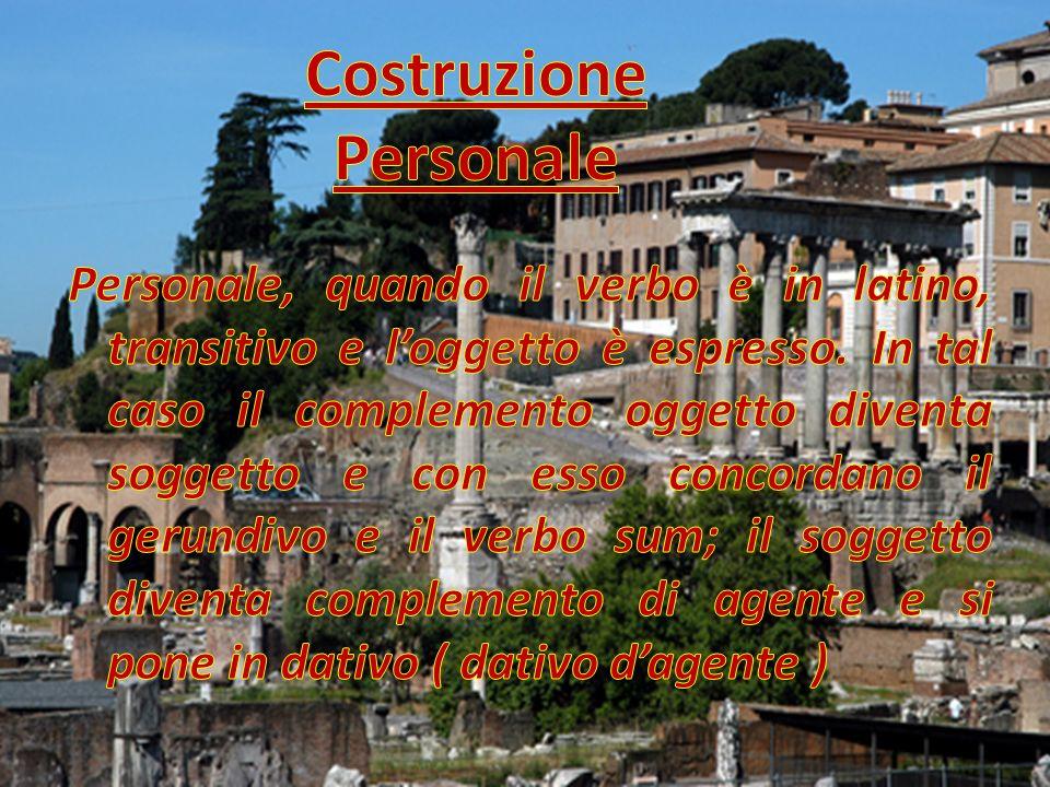 Facciamogli fare qualche esempio Lex observanda est civi : La legge deve essere osservata dai cittadini Virtus omnibus aestimanda est : Tutti devono stimare la virtù