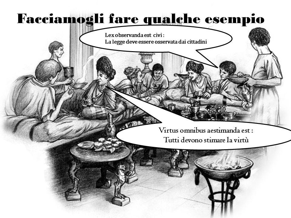Facciamogli fare qualche esempio Lex observanda est civi : La legge deve essere osservata dai cittadini Virtus omnibus aestimanda est : Tutti devono s