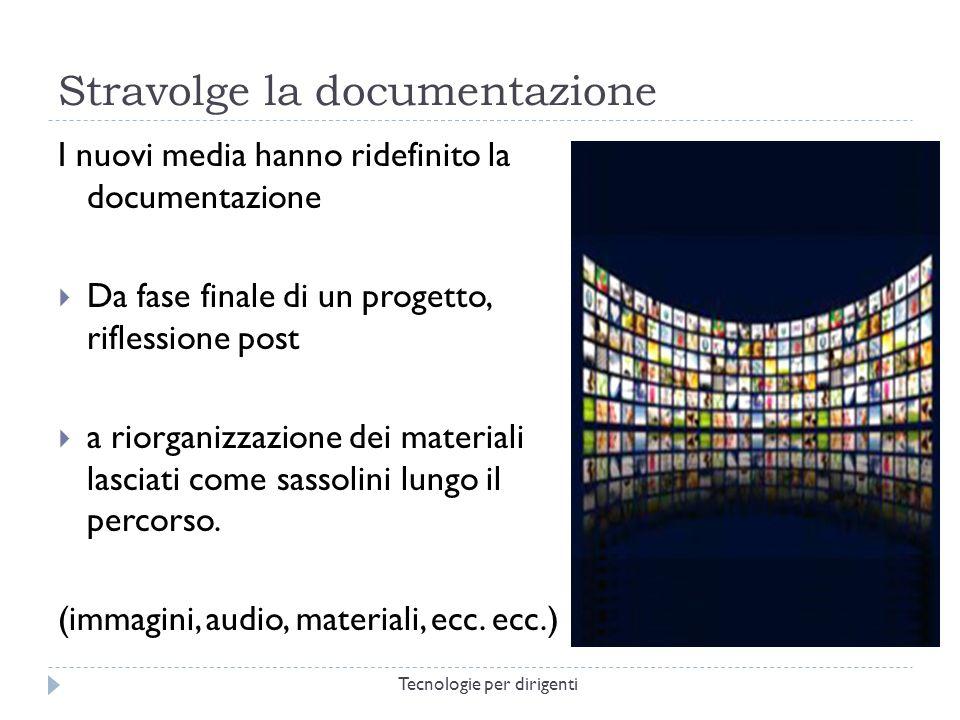 Stravolge la documentazione I nuovi media hanno ridefinito la documentazione Da fase finale di un progetto, riflessione post a riorganizzazione dei materiali lasciati come sassolini lungo il percorso.