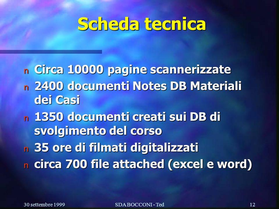 30 settembre 1999SDA BOCCONI - Ted12 Scheda tecnica n Circa 10000 pagine scannerizzate n 2400 documenti Notes DB Materiali dei Casi n 1350 documenti creati sui DB di svolgimento del corso n 35 ore di filmati digitalizzati n circa 700 file attached (excel e word)