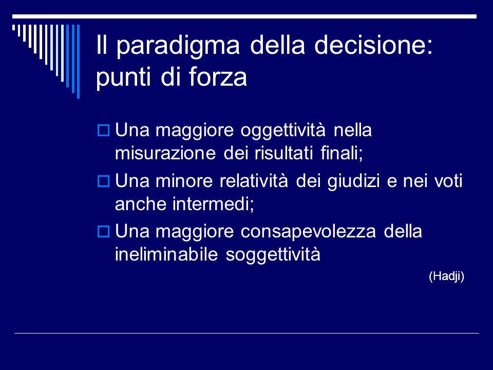 Il paradigma della decisione: punti di forza Una maggiore oggettività nella misurazione dei risultati finali; Una minore relatività dei giudizi e nei voti anche intermedi; Una maggiore consapevolezza della ineliminabile soggettività (Hadji)