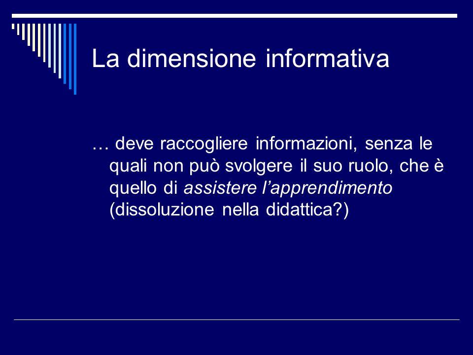 La dimensione informativa … deve raccogliere informazioni, senza le quali non può svolgere il suo ruolo, che è quello di assistere lapprendimento (dissoluzione nella didattica )