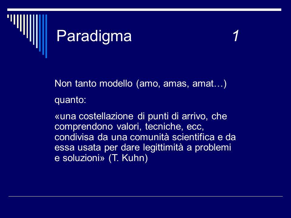 Paradigma 1 Non tanto modello (amo, amas, amat…) quanto: «una costellazione di punti di arrivo, che comprendono valori, tecniche, ecc, condivisa da una comunità scientifica e da essa usata per dare legittimità a problemi e soluzioni» (T.
