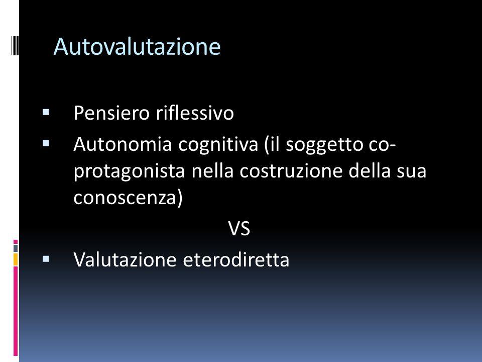 Autovalutazione Pensiero riflessivo Autonomia cognitiva (il soggetto co- protagonista nella costruzione della sua conoscenza) VS Valutazione eterodiretta
